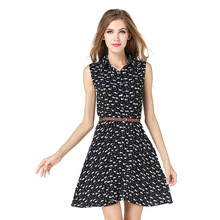 Belt Free Women Dress Summer Cat Printed Sleeveless Sexy Elegant Dress Button Decorate Viscose Polo Collar Black Casual Mini