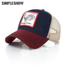 SIMPLESHOW New Fashion Baseball Cap Women Men Breathable Mesh Caps Unisex Snapback Hat Embroidery Animals Hip Hop Hat Bone(China)