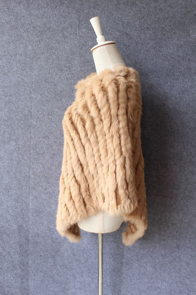 natural knitted rabbit fur scarf wraps (17)