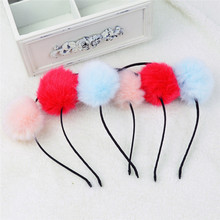 2017 New Hot Selling 1Pc Pom Fur Ball Furry Ears Women Headband Hair band Beautiful Fluffy Rabbit Fur Ball Hair Accessories(China)