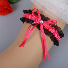 Lace Bridal Garters 2016 Red Black Silk Ribbon Wedding Accessories New Coming Suspenders In Stock Christmas Gifts For Groomsman