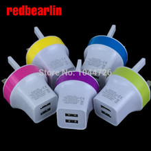 redbearlin 200pcs/lot 2.1A+1A Dual usb port Uk Ac home travel wall charger adapter for iphone 4 5 6 6s for samsung htc lg(China)