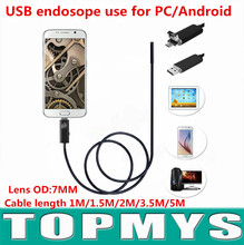 USB endosope TM-E7 Support Andriod and PC USB 2.0 mini pinhole camera with 6 LED waterproof IP67 snake camera 0.3MP resolution(China)