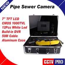 "Duct Cleaning Sewer Pipe Camera System Equipment For Pipeline & Wall Inspection with 7"" LCD DVR Functional 50m Fiberglass Cable"