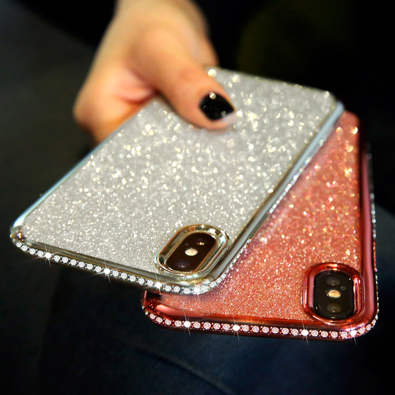 Rhinestone Glitter Case for Apple iphone XS MAX XR 10 X 7 8 Plus 6 S 6s Soft Silicone TPU Diamond Sexy Girl Protector Back Cover (12)