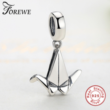 Forewe Fit pandora Original Charm Bracelet Pure 925 Silver Paper Crane Pendant DIY Jewelry for women Mother's Day Gift