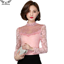 2017 Autumn Winter Women Tops Fashion Lace Blouse Long Sleeve Slim Body Floral Shirt Elegant Hollow Lace Top blusas femininas(China)