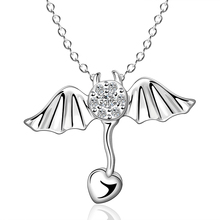 The Italy Woman Floating Float Necklace Pendant Silver Plated Angel Wing Inlaid Stone Charm Fashion Crystal Cubic Zircon Jewelry