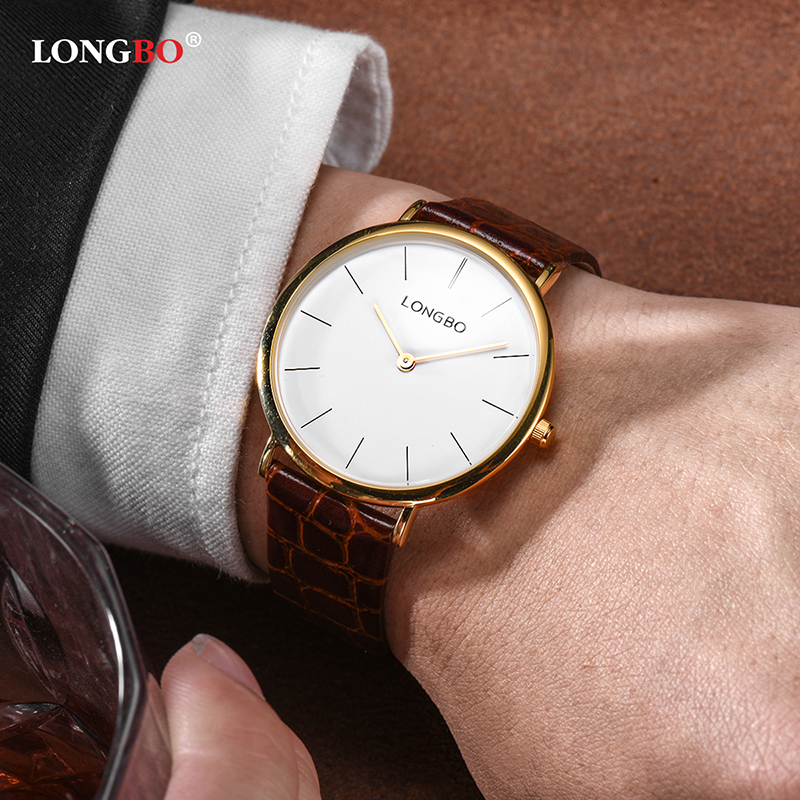 LONGBO 2 Size Simple Business Watches Women Men Couple Elegant Leather Quartz Watch Waterproof reloj mujer gift clock<br>