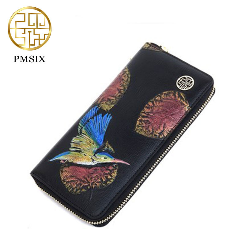 PMSIX 2017 New Women Wallets Genuine Leather High Quality Long Design Clutch Cowhide Wallet High Quality Vintage Female Purse<br>