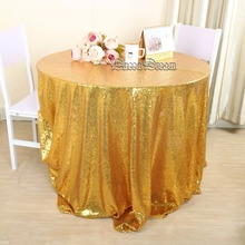 Gold Sequin Tablecloth 90 Inches Round Gold Sequin Tablecloth Wedding table cloths(China)