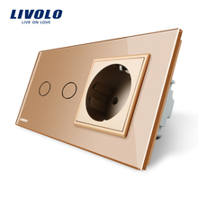 Livolo 16A EU standard Wall Power Socket, AC 220~250V,Golden Crystal Glass Panel,Touch Switch with Wall Outlet,C702-13/C7C1EU-13(China)