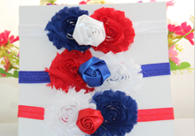 5pcs/lot 4th of July America Patriotic Red White Blue Shabby Rosette Flower Print FOE Elastic Kids Headbands Free Shipping(China)