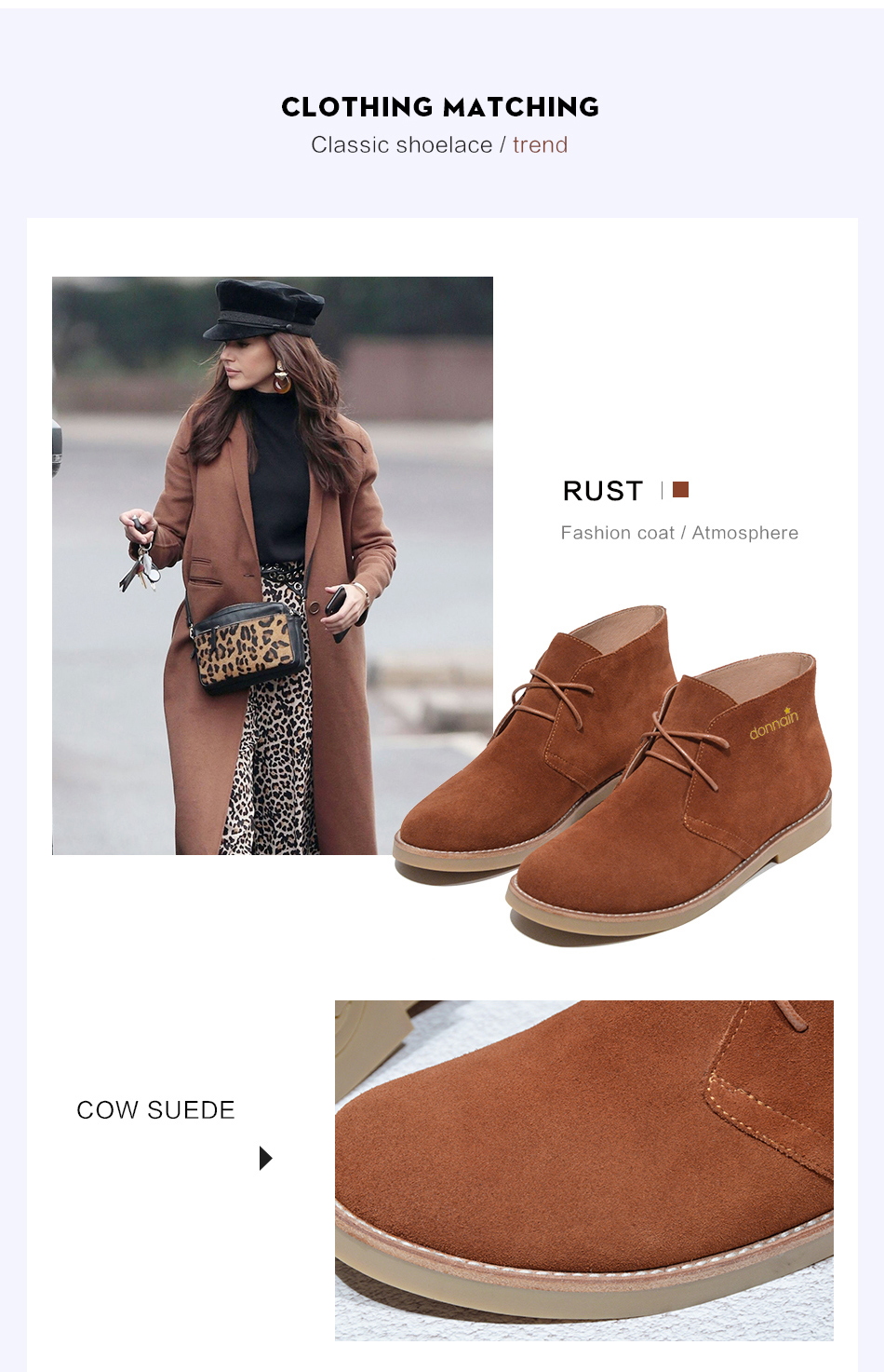 Donna-in Fashion Martin Boots Women Adult Autumn Spring 2019 Ankle Boots Suede Leather Lace-up Casual Low Heel Shoes Women (12)