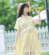 2017 Spring Summer Light Yellow color Plaid Young Girl Soft Sister Embroidery Knee length Short-sleeve Dress Loose doll dresses