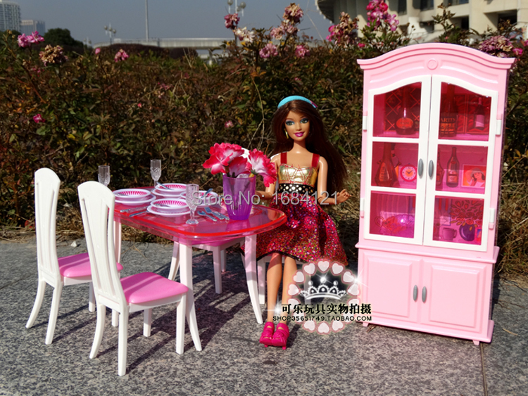 Free Shipping Girl birthday gift plastic Play Set Furniture Kitchen accessories Dining table + Wine cabinet for barbie doll<br>