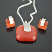 SS036 Square Red Opal Stone Silver Teddy  Jewelry Set  Honey Gift Stainless Steel Earring Studs Pendant Necklace Women