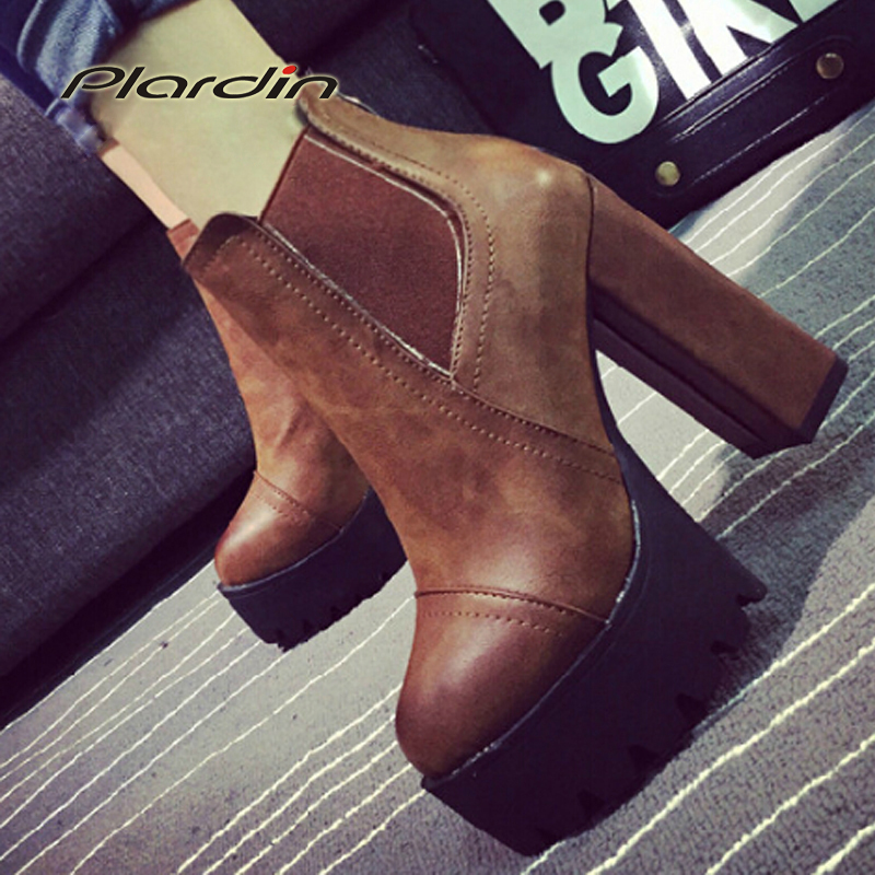 2017 Sexy Ultra High Heels Shoes Woman Martin Boots Female Round Toe Martin Boots 9cmThick Heel Platform Women Shoes Ankle Boots<br><br>Aliexpress