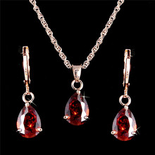 H:HYDE Wedding/Bride noble jewelry Gold Color Women's/Girl's red CZ Chain Necklace + Earrings Wedding Jewelry Sets Gifts