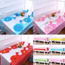 Polka Dot Plastic Disposable Tablecloth Waterproof Party Wedding Birthday Table Cloth 180cm x108cm(China)
