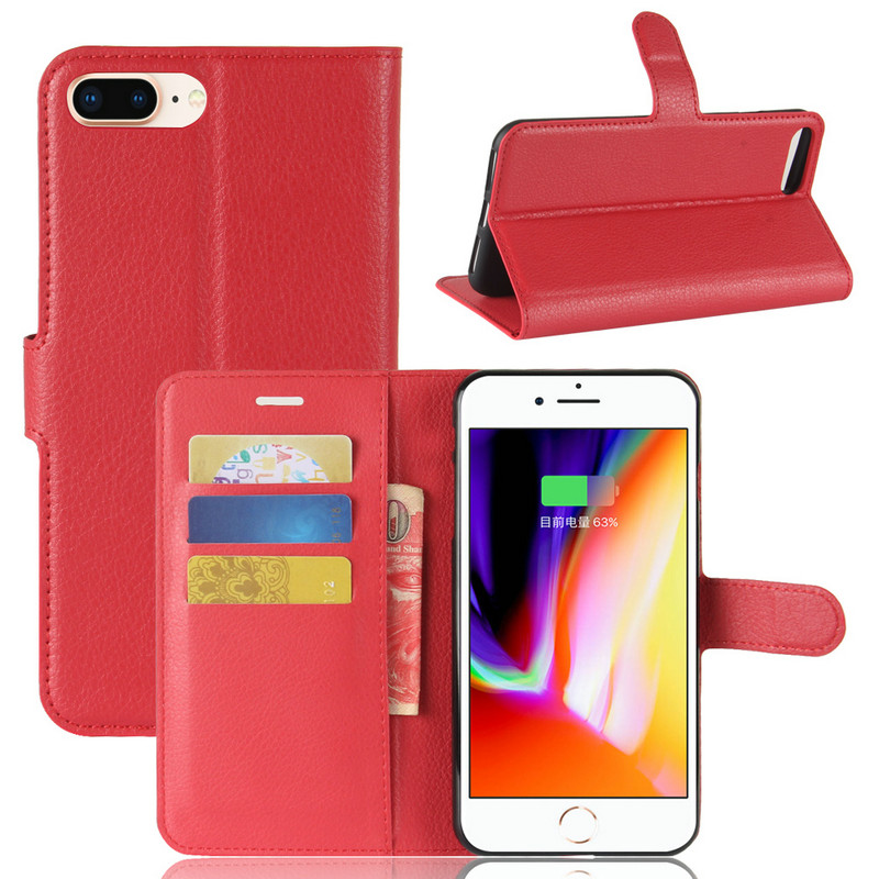 WIERSS Luxury Flip Leather Case cover Apple iPhone 8 plus iPhone 8 phone Cover Wallet case shell+Card+Stand