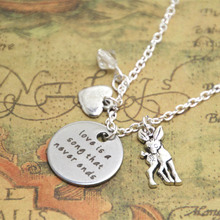 12pcs/lot Baby Deer Fawn Necklace Love is a song that never ends Mother Daughter Father necklace Crystal(China)
