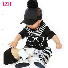 LZH 2017 New Summer Baby Boys Clothes Glasses Pattern Short Sleeved T-Shirt + Stripe Pants Infant Girl Clothing Set Newborn Suit