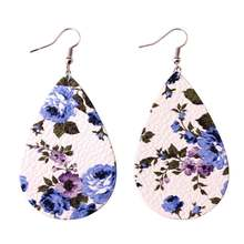 Boho Jewelry 2018 Spring Summer Printed Rose Floral Leather Teardrop Bohemian Statement Drop Earrings For Fashion Women jewelry(China)