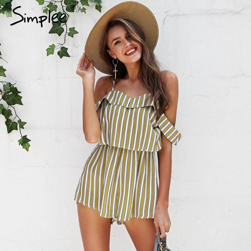 Simplee Stripe shoulder sexy rompers Womens jumpsuit high waist summer beach playsuit 2018 Casual strap chiffon overalls