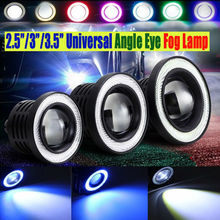 Waterproof Projector LED Lens Halo Angel Eyes Rings Fog Light 12V SUV ATV Fog Lamp White Blue Yellow Red Pink Daytime Running(China)