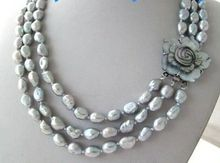 "Hot sale new Style >triple strands 10-11mmbaroque silver grey pearl necklace 17""18""19"""