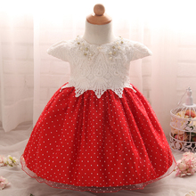 Formal Crochet baby girls dresses infant Princess dress for 1 year Birthday Party Baby Girl Dress clothes Wedding kids clothing