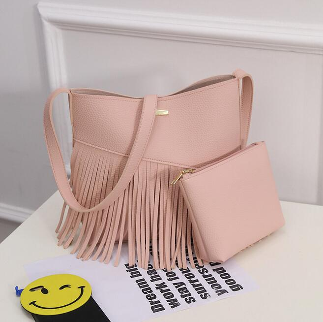 Two pieces Fashion new handbags High quality PU leather Women bag Litchi pattern tassel shoulder bag High capacity Female bag<br><br>Aliexpress
