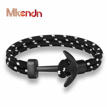 MKENDN New Arrival Fashion Jewelry navy style Stainless Steel  Hope Anchor Bracelets Men Women Sport Camping Parachute cord