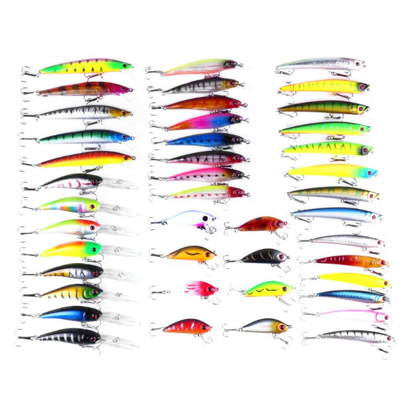 43pcs/lot Fishing Fake Lure Minnow Lures Hard Bait Pesca  Fishing Tackle isca artificial Quality Hook Swimbait pesca jerkbait <br>