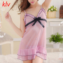 KLV Womens Fashion Solid Charming Sexy Intimates Lingerie Lace Dress Underwear Pink Babydoll Sleepwear With Bow Big Promotion