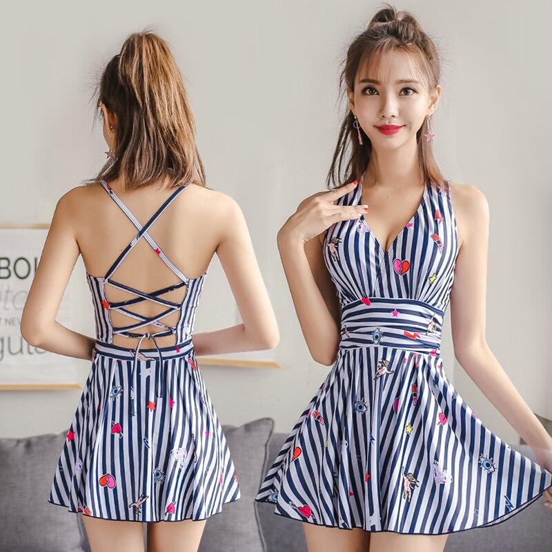 One Pieces Women Dress Bathing Suit New Striped Swimsuit Plus Size Cross Bandage Swimwear Bathing Suit Maillot De Bain Beachwear<br>
