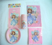 Sofia Princess Birthday Party Tablecloth Baby Shower Dishes Kids Favors Decoration Paper Plates Cups Blow Outs Supplies 47pc\lot