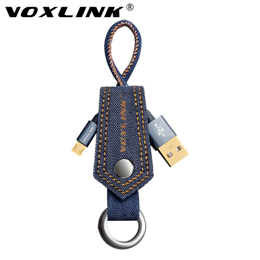 VOXLINK Keychain denim Data Charge Micro USB Cable Fast Charging Mobile Phone USB Charger Cable for Samsung Huawei HTC Android(China (Mainland))