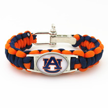 Paracord Bracelet Auburn State Football Sports Team  blue orange Customize Sport  friendship Bracelets Drop shipping