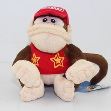 15CM Approx Free Shipping 1Pcs Donkey Kong Plush Toys Super Mario Diddy Kong Plush Doll Soft Toy(China)