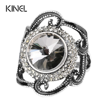 Fashion Black Enamel Rings Wholesale Ancient Silver Color Crystal Flowers Gray Satellite Stone Female Ring Vintage Jewelry