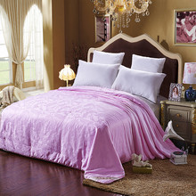 100% Natural Mulberry Silk Comforter satin jacquard quilt duvet for winter 200*230cm bedding set pink filler