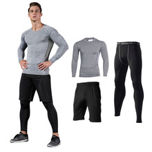 Readypard men Cationic gym suits Plus Size shorts compression costume black clothing long sleeve leggings shorts track sets