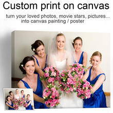 1 Piece Custom Spray Painting Your Favorite Pictures Print Family Friends Wedding Party Or Baby's Photo On Canvas(China)