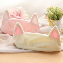 New 1PC Cat Ear Headband Women Hair Accessories Wash Shower Cap Head Ornaments Elastic Hairband Party Halloween Headdress(China)