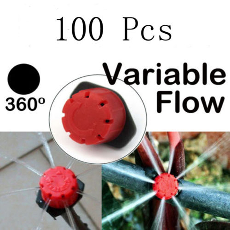 100pcs DIY Drip Irrigation System Adjustable Micro Drip Irrigation Watering Anti-clogging Emitter Dripper Red Garden Supplies