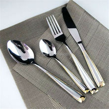 New 24Pcs Stainless Steel Gold Flat ware Sets  Plated Cutlery Dinner Set Tableware Silverware Dinner Fork S poon Knife
