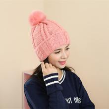 2016 New Fashion Brand Women Fur Hat For Winter High Quality Knitted Wool Beanies Cap Fluffy Fur Pom pom Hats Casual Caps