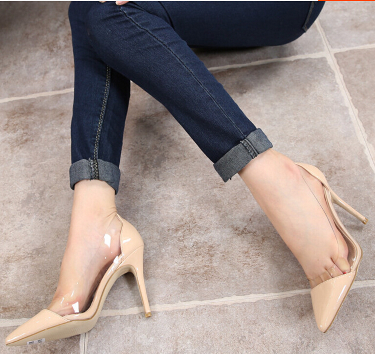 European American Summer High Heel Pumps Point Toe Glasses Transparent Lady Shoes Sexy Color-Matched Girl Fashion Shoes ML2795<br>